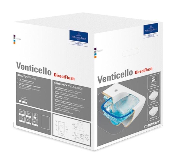 Zdjęcie Zestaw Combi-pack Villeroy&Boch Venticello Miska Wc + deska wolnoopadająca Weiss Alpin 4611RL01