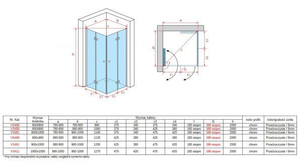 Zdjęcie Kabina uchylno-składana dwuskrzydłowa Atrium Pollino 80x100cm vs481