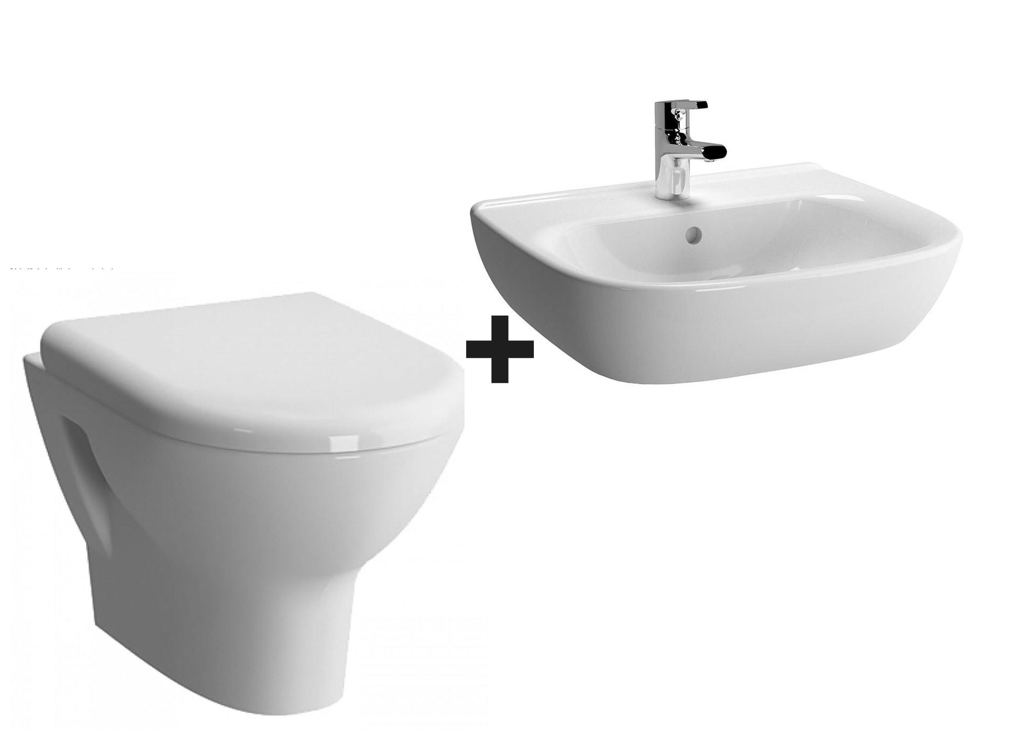 Miska WC wisząca + deska wolnoopadająca + umywalka wisząca Vitra Zentrum 5785B003-0075 +94-003-009+5633B003-0001