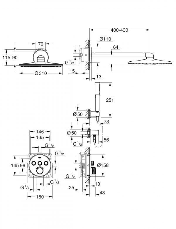 Zdjęcie GROHE SmartControl – podtynkowy system prysznicowy 34709000