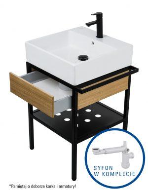 Deante Temisto Umywalka stawiana na blacie + konsola łazienkowa z szufladą 56x50 cm + syfon space saver CDTD6U5S