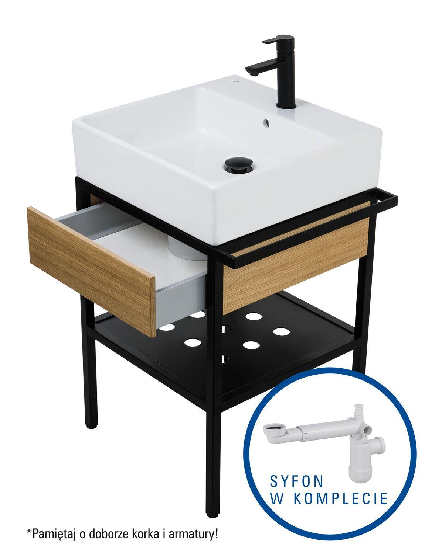 Deante Temisto Umywalka stawiana na blacie + konsola łazienkowa z szufladą 56x40 cm + syfon space saver CDTD6U4S
