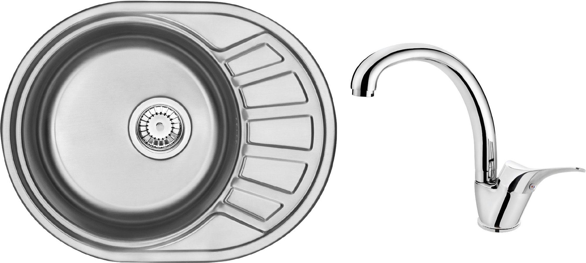 Deante Stock Komplet zlewozmywak stalowy 1-komorowy z krótkim ociekaczem + bateria zlewozmywakowa stojąca ZSTA011C