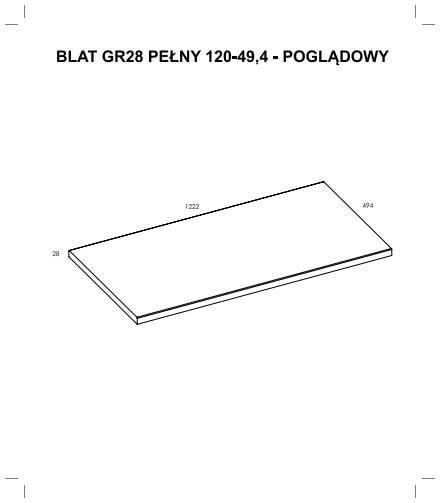 Zdjęcie Blat Elita Pełny (120/49,4) GR28 Dąb Classic PCV 167042