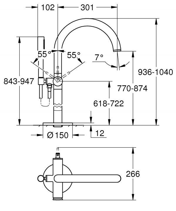 Zdjęcie GROHE Atrio – jednouchwytowa bateria wannowa do montażu podłogowego z zestawem punktowym chrom 32653003 .