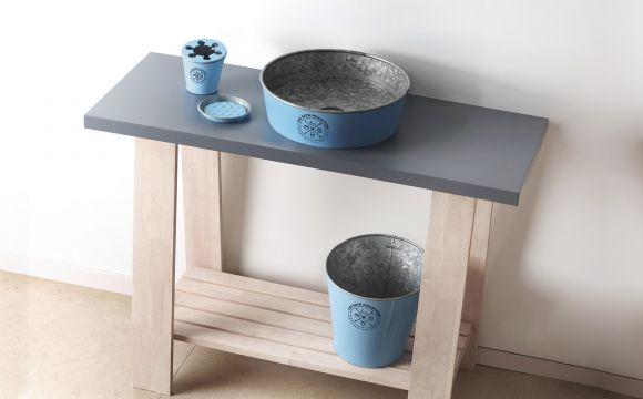 Zdjęcie Umywalka nablatowa + set Bathco Kioto Zinc Azul 35x35x10cm niebieska 8330 @