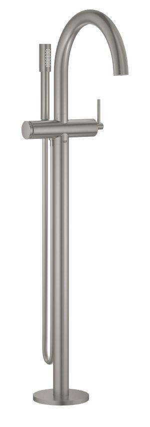 GROHE Atrio - jednouchwytowa bateria wannowa do montażu podłogowego z zestawem punktowym stal nierdzewna 32653DC3