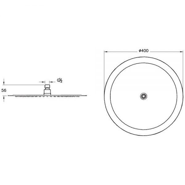Zdjęcie Deszczownica Vitra Lite okrągła 400mm chrom A45646EXP