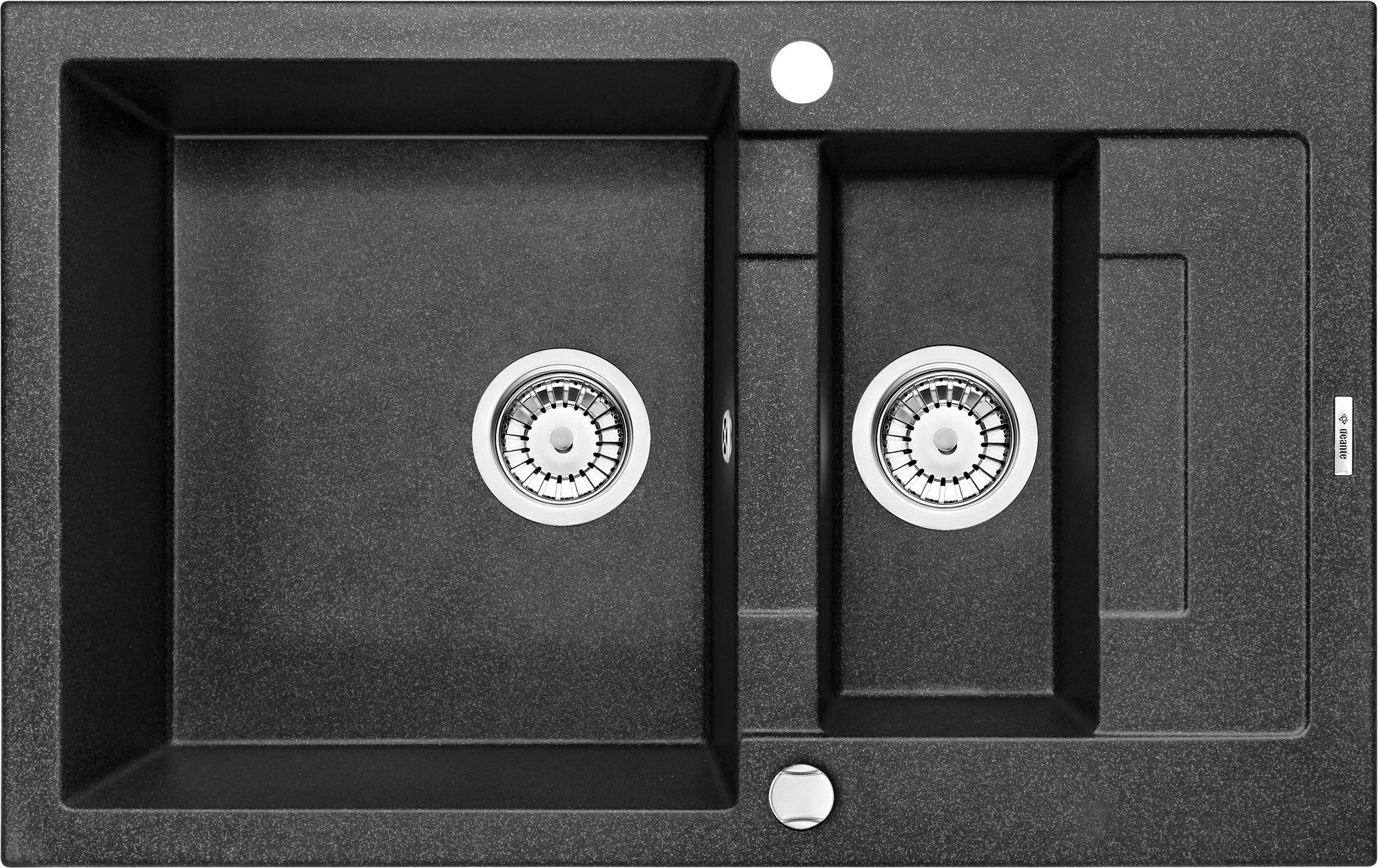 Deante Rapido Zlewozmywak 1,5-komorowy z krótkim ociekaczem - grafitowy ZQK2513