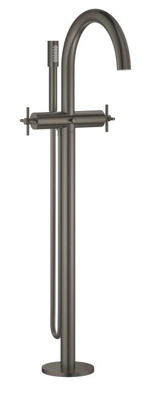 GROHE Atrio - 2-uchwytowa bateria wannowa do montażu podłogowego z zestawem punktem Brushed Hard Graphite 25044AL3 .