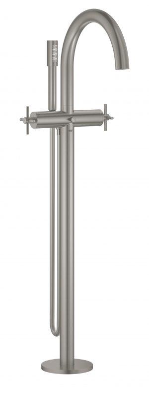 GROHE Atrio - 2-uchwytowa bateria wannowa do montażu podłogowego z zestawem punktem stal nierdzewna 25044DC3