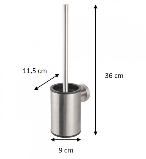 Zdjęcie Szczotka WC niska wisząca Stella metalowy pojemnik, wkład z tworzywa Stella Classic czarny mat 07.433-B