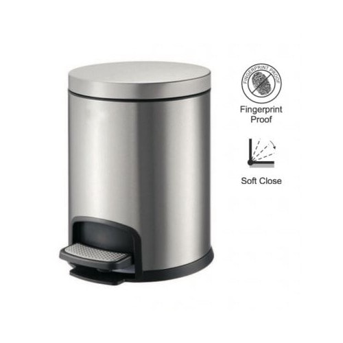 Kosz pedałowy PREMIUM okrągły 8 L Stella srebrny 20.20108 _