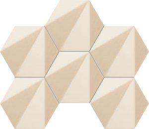 Mozaika ścienna Tubądzin Chenille beige hex 28,9x22,1 cm