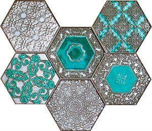 Mozaika ścienna Tubądzin Lace absinthe 28,9x22,1 cm