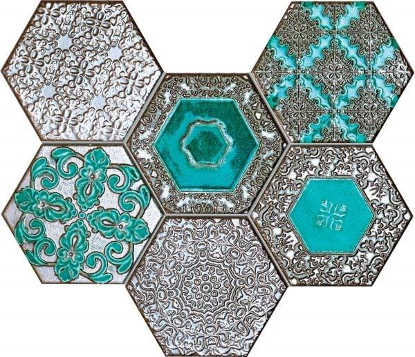 Zdjęcie Mozaika ścienna Tubądzin Lace absinthe 28,9×22,1 cm