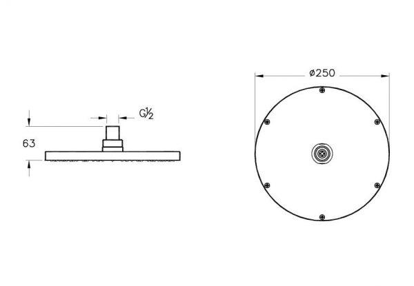 Zdjęcie Deszczownica Vitra Vichy okrągła 250mm chrom A45638EXP