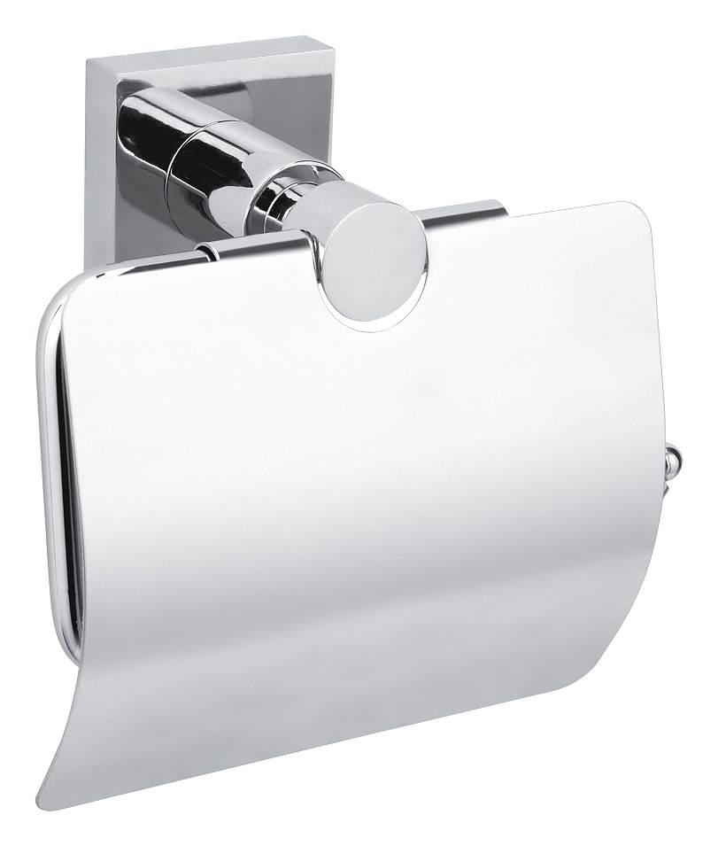 Uchwyt na papier toaletowy z wieczkiem Tesa Hukk 130x140x70 mm chromowany metal 40247