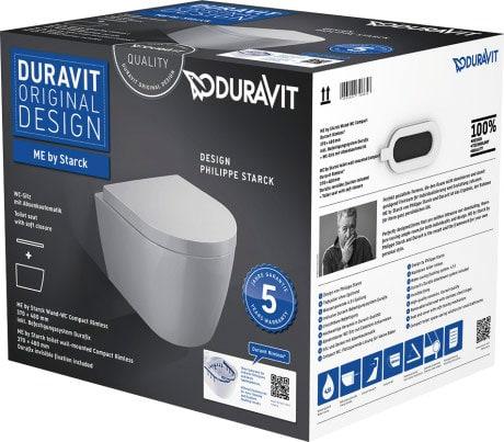 Zestaw WC wiszący Compact ME by Starck Duravit Rimless 45300900A1 (2530090000 + 0020190000)