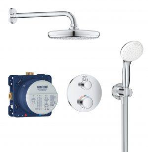 GROHE Grohtherm Tempesta 210 - termostatyczny system prysznicowy do montażu podtynkowego chrom 34727000