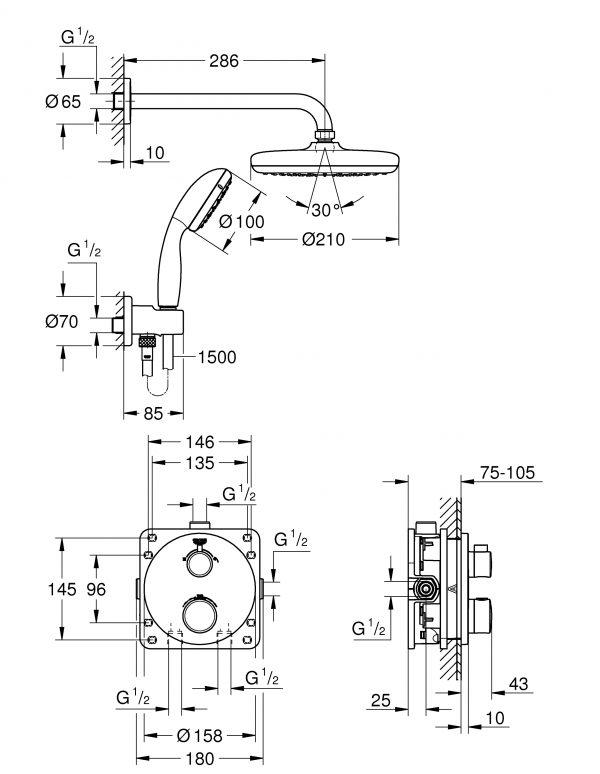 Zdjęcie GROHE Grohtherm Tempesta 210 – termostatyczny system prysznicowy do montażu podtynkowego chrom 34727000
