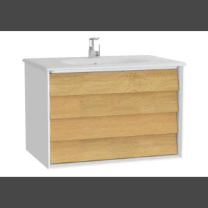 Szafka z umywalką Vitra Frame 80 cm  biały / dąb 2 szuflady 61228