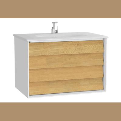 Szafka z umywalką Vitra Frame 80 cm  biały / dąb 2 szuflady 61228 @