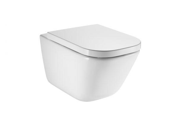 Zdjęcie Miska WC podwieszana Roca Gap Square Rimless + Deska WC wolnoopadająca Duroplast łatwowypinalna 540 A34647L000+A80148200U (A34H47C000)
