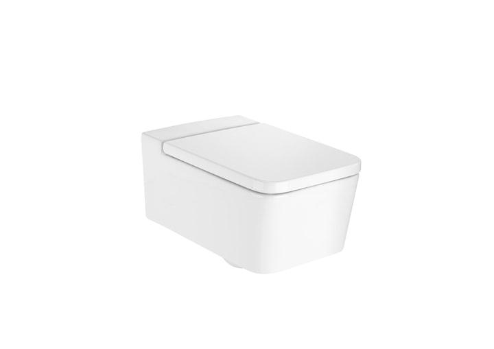 Miska WC podwieszana Roca Inspira Square Rimless 56x37cm + Deska WC wolnoopadająca A346537000+A80153200B