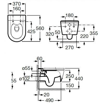 Zdjęcie Miska WC wisząca Roca Inspira Round Rimless Biała +Deska WC wolnoopadająca A80152200B+A346527000