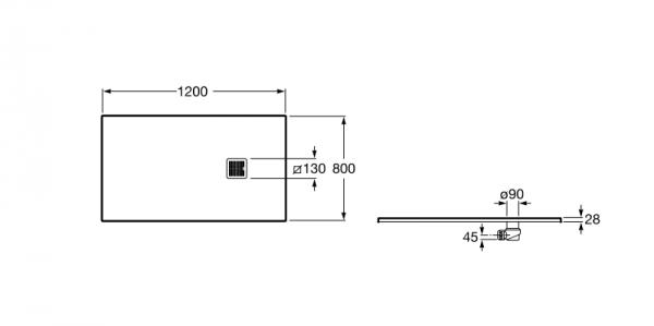 Zdjęcie Brodzik prostokątny Roca Terran 1200×800 mm Syfon w kpl. Biały AP014B032001100