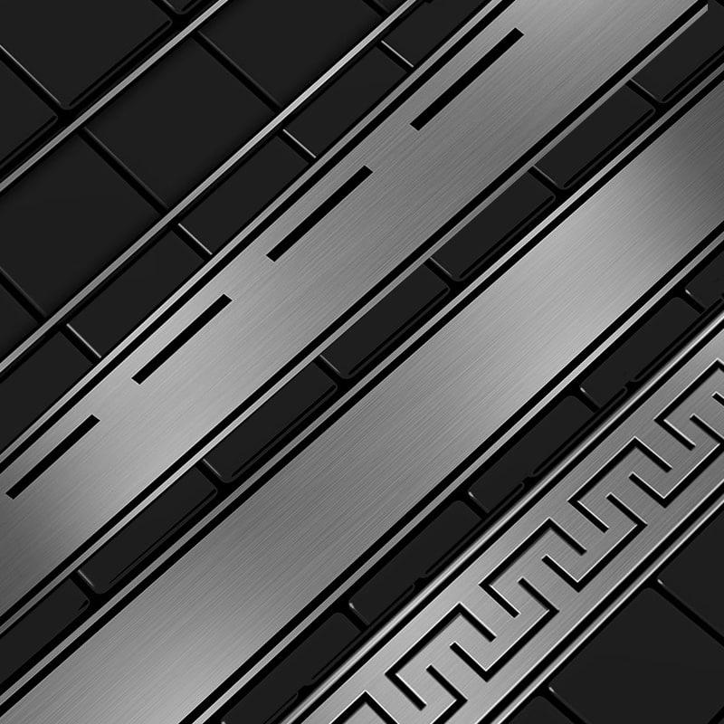 Zdjęcie Odpływ liniowy Aquadomo Grecki ze stali nierdzewnej czarny mat 140 cm