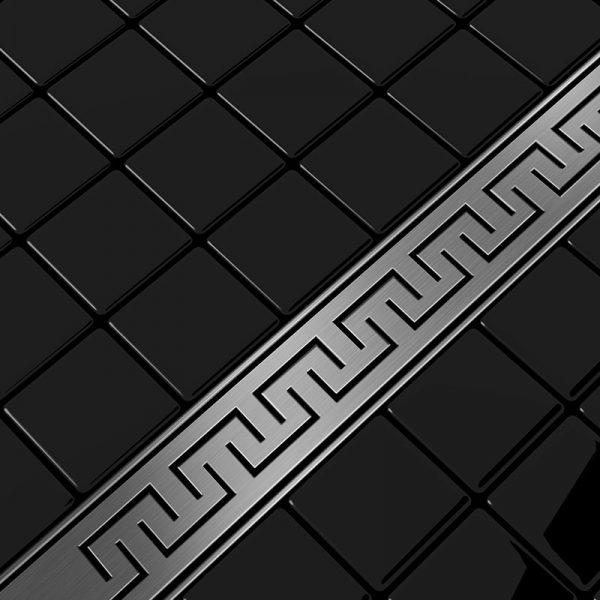 Zdjęcie Odpływ liniowy Aquadomo Grecki ze stali nierdzewnej czarny mat 50 cm
