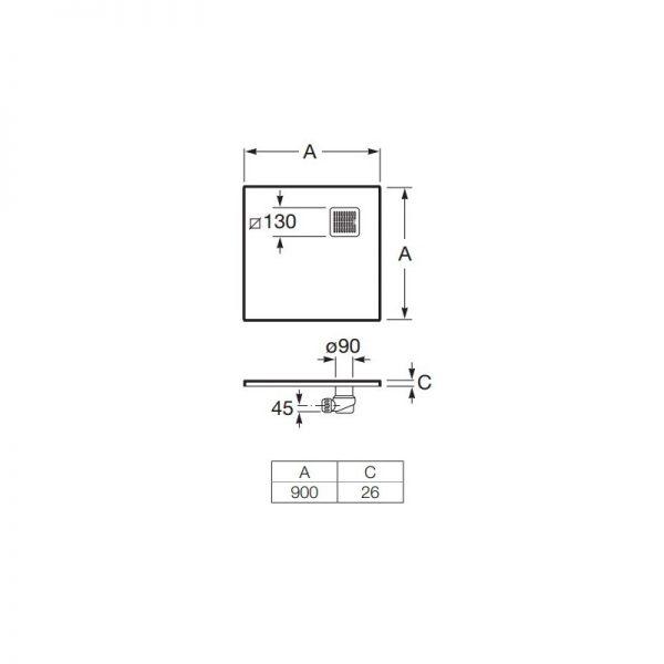 Zdjęcie Brodzik kwadratowy Roca Terran 900×900 mm Syfon w kpl. Biały AP0338438401100