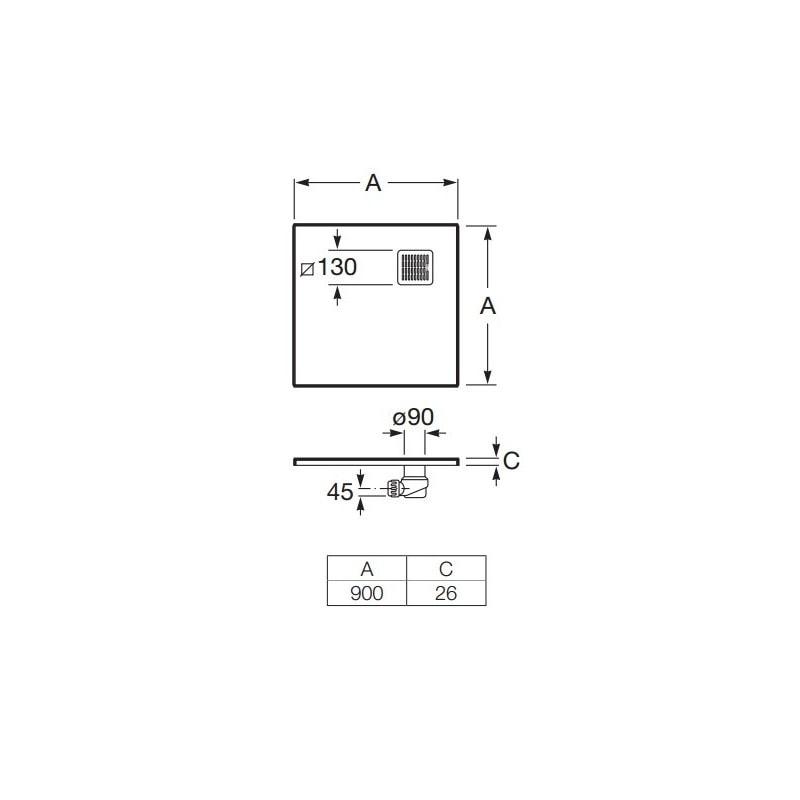 Zdjęcie Brodzik kwadratowy Roca Terran 900×900 mm Syfon w kpl. Czarny AP0338438401400