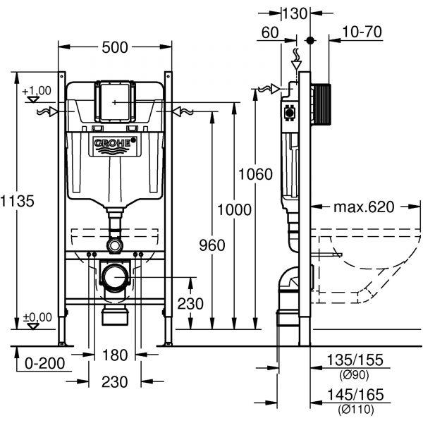 Zdjęcie GROHE Stelaż do WC podtynkowy Rapid SL 2w1 500 x 1130 x 230 mm chrom w komplecie: kątowniki mocujące 39069000