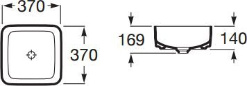 Zdjęcie Umywalka nablatowa cienkościenna Roca Inspira 37×37 cm Square  FINECERAMIC® A327532000