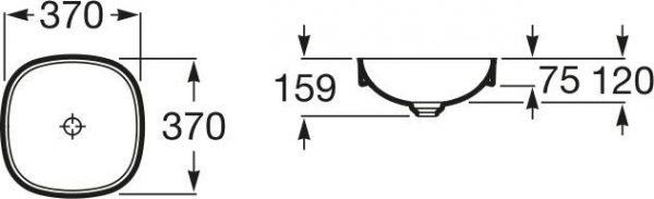 Zdjęcie Umywalka blatowa cienkościenna Roca Inspira 37×37 cm Soft FINECERAMIC® A32750R000