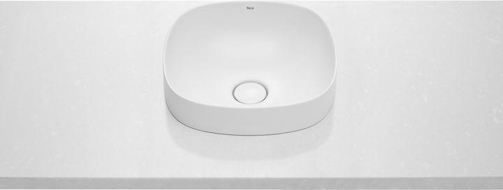 Umywalka blatowa cienkościenna Roca Inspira 37x37 cm Soft FINECERAMIC® A32750R000
