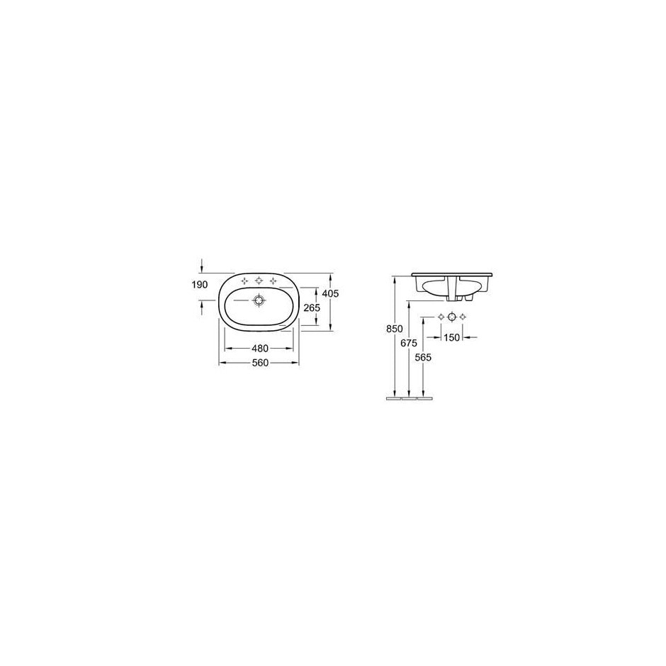 Zdjęcie Umywalka nablatowa owalna Villeroy&Boch O.Novo 40,5x56cm Weiss Alpin Ceramicplus 416156R1