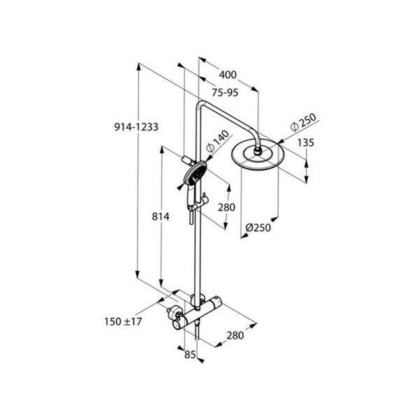 Zdjęcie Zestaw natryskowy z baterią termostatyczną Kludi D-Zire, deszczownica 25 cm chrom 6609605-00