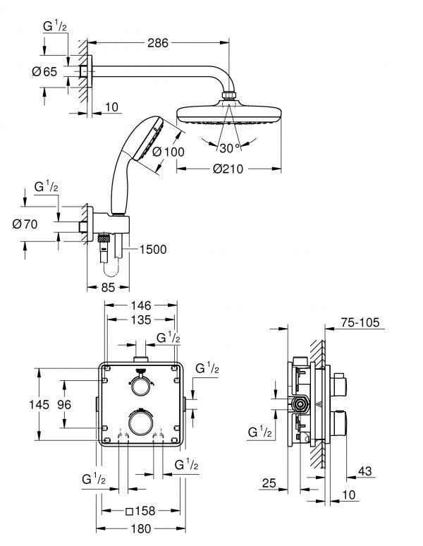 Zdjęcie GROHE Grohtherm Tempesta 210 – termostatyczny system prysznicowy do montażu podtynkowego chrom 34729000