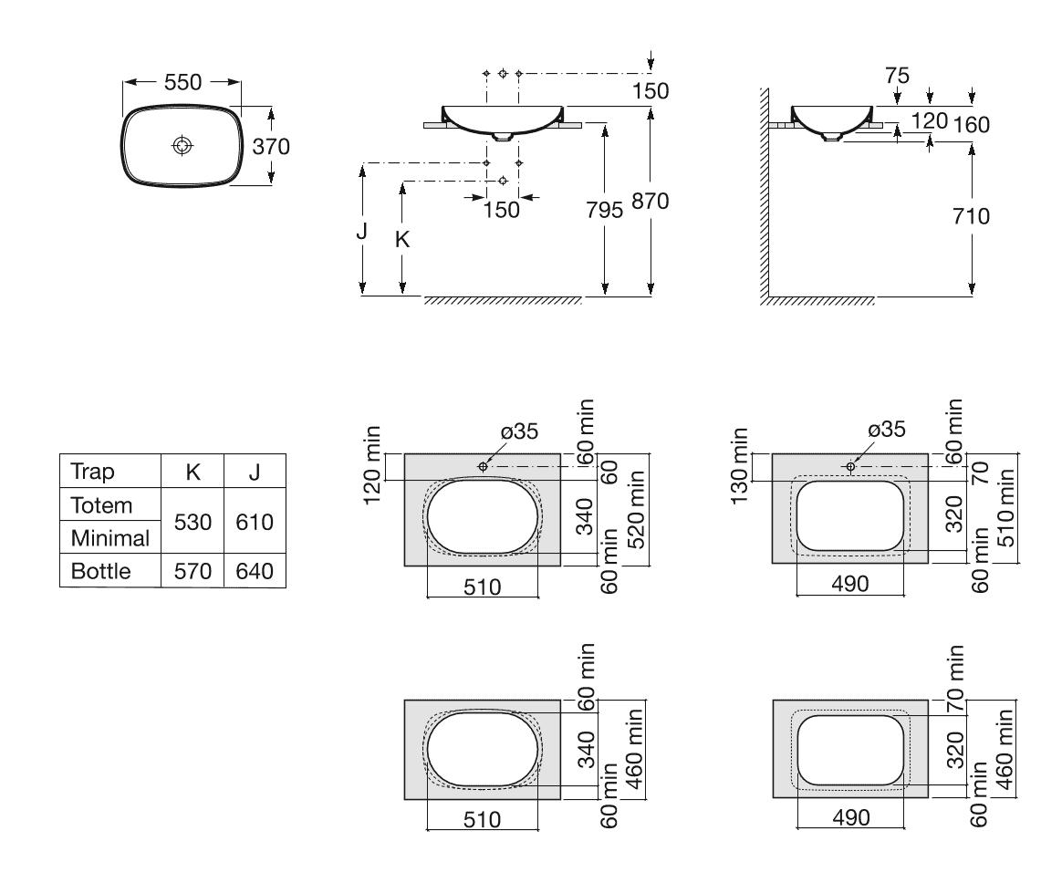 Zdjęcie Umywalka blatowa cienkościenna Roca Inspira 55×37 cm Soft FINECERAMIC® A327504000