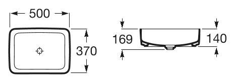 Zdjęcie Umywalka nablatowa cienkościenna Roca Inspira 50×37 cm Square FINECERAMIC® A327530000