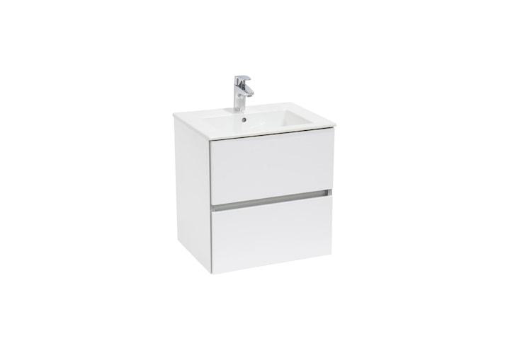 Zestaw łazienkowy Roca Cube 55x55 cm Unik z 2 szufladami (szafka+umywalka), Biały połysk A85119A806
