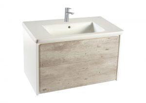 Zestaw łazienkowy Roca Ronda 80x48 cm Unik z 2 szufladami (szafka + umywalka), Cement / Biały mat  A851457453