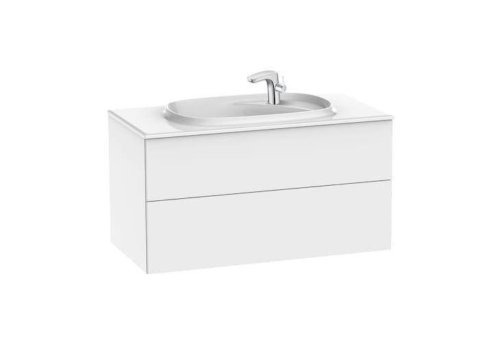 Zestaw łazienkowy Unik z 2 szufladami Roca Beyond  100x52,5 cm (szafka + umywalka), Biały połysk A851358806