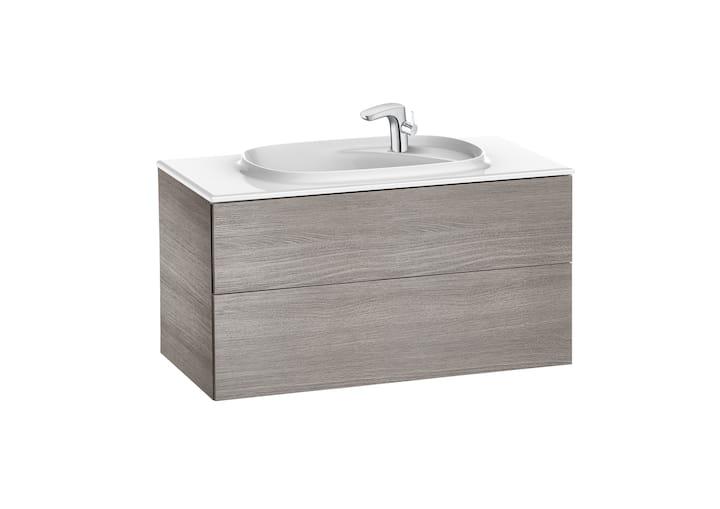 Zestaw łazienkowy Unik z 2 szufladami Roca Beyond  100x52,5 cm (szafka + umywalka), Dąb A851358402
