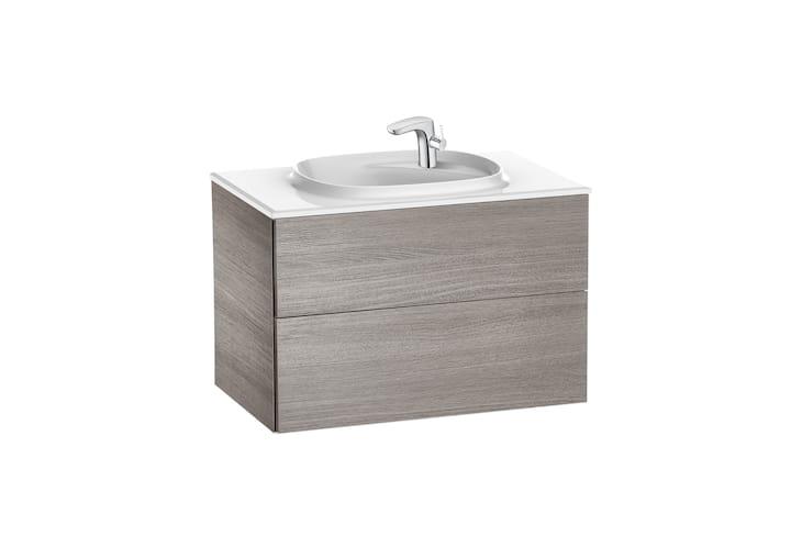 Zestaw łazienkowy Unik z 2 szufladami Roca Beyond  80x52,5 cm (szafka + umywalka), Dąb A851357402