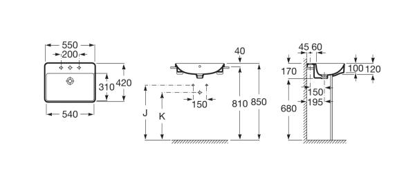 Zdjęcie Umywalka półblatowa cienkościenna Roca Inspira 55×42 cm Square A32753S000